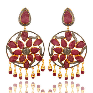 18K Gold Sterling Silver Ruby And Pave Diamond Wedding Chandelier Earrings