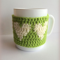 Cup cozy,Green cup cozy,Green cup sleeve,Coffee cozy,Coffee cup cozy,Coffee sleeve,Coffee cup sleeve,Tea cozy,Heart cup cozy,Mug warmer,Gift