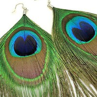 Peacock feather Earrings - Retro Chic by Aerisk