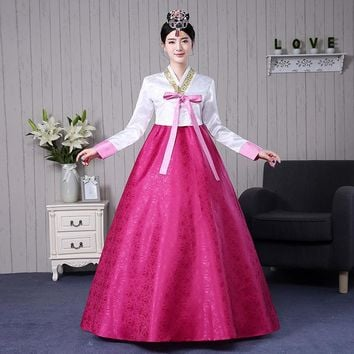 7 colors korean traditional clothing cotton hanbok korean costumes women asian style dresses hanbok dress dance performance