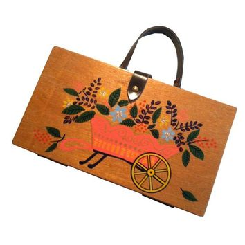Pre-owned Flower Wagon Painted Wooden Handbag 1960s