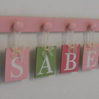 Baby Girl Nursery Decor Name Wall Hanging Letters Custom for ISABELLA - 8 Wood Hooks Pink and Green Nursery