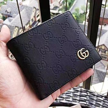 GUCCI New fashion more letter leather high quality couple wallet purse Black