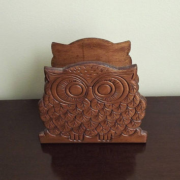 Owl Napkin Holder, Wooden Owl, Wood Owl Napkin Holder, Vintage Kitchen Owl, 1970s Napkin Holder, Bird Kitchen Decor, Owl Collectible