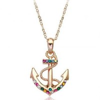Colorful Rhinestone Anchor Pendant Necklace