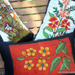 Floral Lumbar Pillow In Sri Lankan Hand Drawn Batik