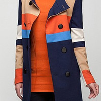 New Slim Contrast Color Epaulet Woolen Overcoat,Cheap in Wendybox.com