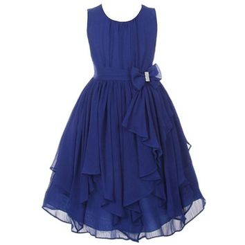 2016 Girls Princess Dresses Christmas Dress Costume Birthday Party Dress Flower Girls Dress Irregular Chiffon Children Clothing
