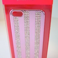 Victorias Secret iPhone 5 5s Case Pink Metallic Bling Rhinestone Hard Stripe