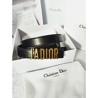DIOR Fashion Women Letter Smooth Buckle Leather Belt