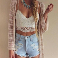 Claudia Hollow Lace Crop Top