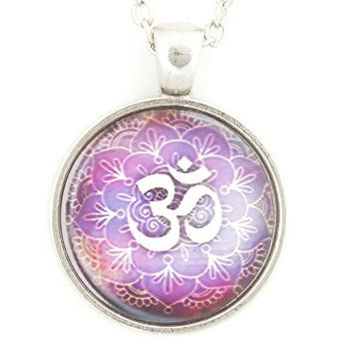 Lotus Flower Om Necklace Silver Tone Aum Hindu Mandala Buddhist Yoga Art Print Pendant NT71 Jewelry