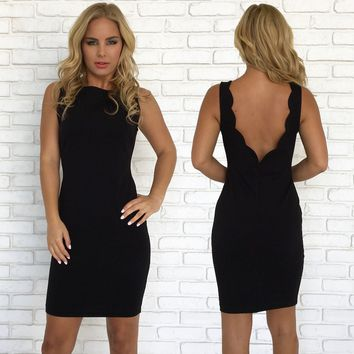 Lively Scallop Bodycon Dress in Black