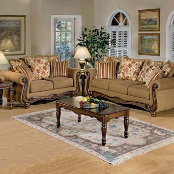 Acme 50310-11 2 pc olysseus brown floral fabric sofa and love seat with wood trim
