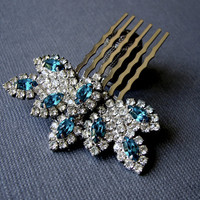Aqua Rhinestone Hair Comb Jeweled Hairpiece Beach Wedding Something Blue Vintage Jewelry Headpiece Formal Pageant Ballroom Prom Accessory