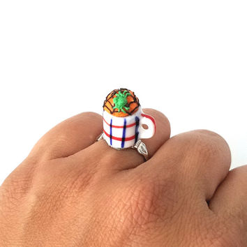 Miniature Halloween Cupcake in Mug Spider Web ring with adjustable ring band, Miniature food jewelry, Halloween accessories
