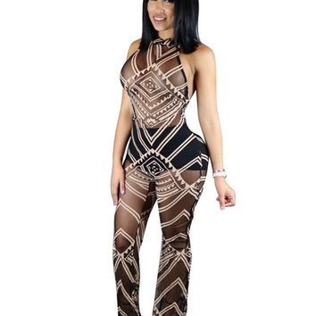 Geometric Print Halter Jumpsuits And Rompers For Women Backless Bodycon Bandage Overalls Perspective Sexy One Piece Mesh