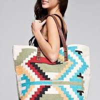 Oversized Cotton Canvas Tribal Pattern Tote Bag