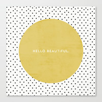 GREEN HELLO BEAUTIFUL - POLKA DOTS Canvas Print by Allyson Johnson