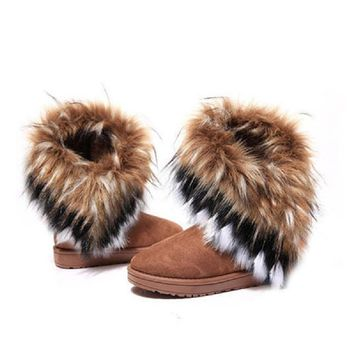 Women Flat Ankle Snow Boots Fur Boots Winter Warm