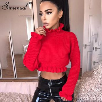 Simenual Ruffles women's turtlenecks sweaters autumn winter 2018 knitted clothing fashion sexy crop lady's sweater pullover sale