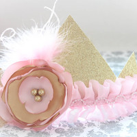 Adorable Pink and Gold Glitter Couture Crown Headband for Baby Girl 0-12 Months Old First Birthday