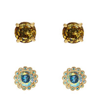 Kate Spade Flower Glitter Stud Set Gold Multi ONE