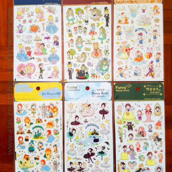 Disney Princess, Swan Lake sticker, Cinderella sticker, Snow White sticker, Sleeping Beauty, Pinocchio, Wizard of Oz, Funny 1 2 3 so 5 6