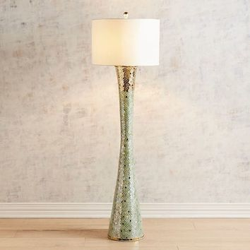 Kiara Green & Gold Mosaic Floor Lamp