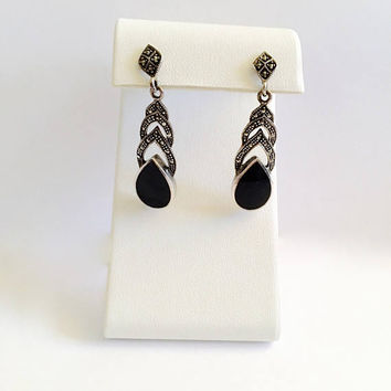 Tear Drop Black Onyx and Marcasite Dangle Drop Earrings in Sterling Silver Setting, BoHo, Elegant Post Earrings