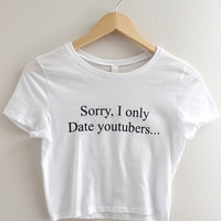 Only Date YouTubers White Graphic Crop Top
