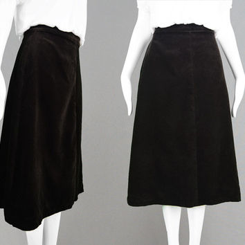 Vintage 70s Dark Brown Velvet Skirt A Line Boho Skirt Cotton Velvet Brown Midi Skirt 1970s Party Skirt High Waist Skirt Mid Length Skirt
