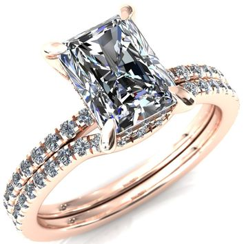 Mayeli Radiant Moissanite 4 Claw Prong Micro Pave Diamond Sides Engagement Ring