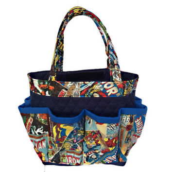 Marvel Comics Bingo Bag // Craft Organizer // Makeup Organizer // Caddy // Teacher Tote // Nurse Tote