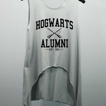 Hogwarts Alumni EST 993 Tank Top Midriff Crop Top women handmade silk screen printing