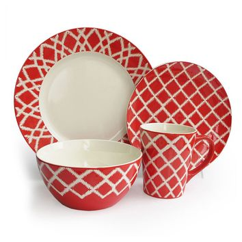 American Atelier Plaid 16-pc. Dinnerware Set (Red)