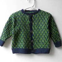 Hand Knit Baby Sweater Designer Navy and Lime Green Pattern Toddler Knit Cardigan 12 Months