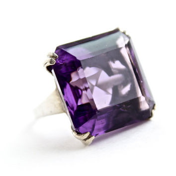 Vintage Sterling Silver Ring -  Size 7 1/2 1960s Uncas Cocktail Purple Glass Stone Costume Jewelry / Chunky Statement