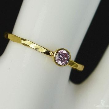 Dainty Solid 14k Gold Pink Tourmaline Ring