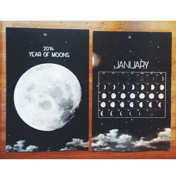 2014 Year of Moons Wall Calendar - Lunar Calendar - Name Customization Available