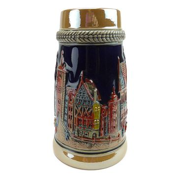 Vintage Beer Stein of German Village Street Scene .75L