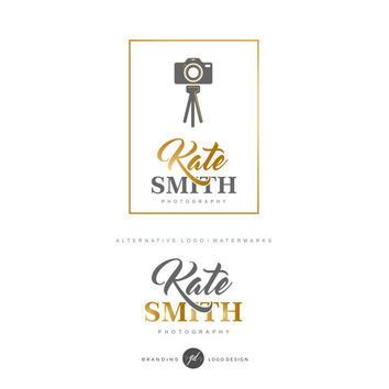 Camera logo, Photography logo Premade logo Branding package Gold logo Photographer logo Watermark Chic logo Branding kit 24