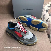 GRAY BLUE RED BALENCIAGA Balenciaga Triple-S SHOES FOR WOMEN MEN GIFT