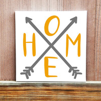 Home Arrow Art, Hand Painted Canvas, Home Decor, Rustic Arrow Art, Wall Hanging, Geometric Painting, Canvas Painting, Housewarming Gift
