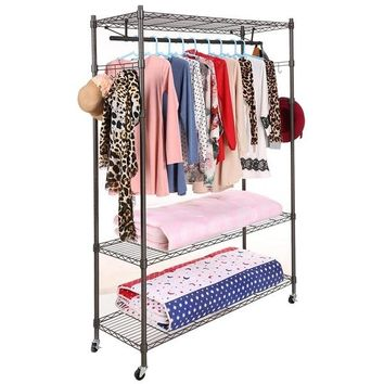 (Ship From EU)Single Rod Black/Gray Clothing Garment Rack Heavy Duty 3 Shelving Closet (Size: 2, Color: Black)