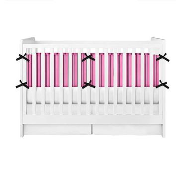 Hot Pink and Black Stripes Crib Bumper