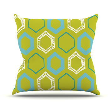 """Laurie Baars """"Hexy Lime"""" Green Blue Throw Pillow"""