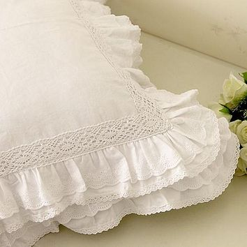 White European embroidered cushion cover ruffle Lace Satin cotton pillow cover handmade elegant bedding pillowcase sofa cushion
