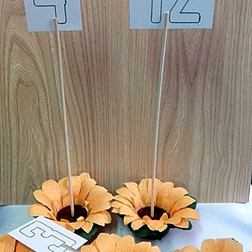 4 Table Number Holders, Set of 4 flowers, Table number sunflowers, Table number wedding celebration event