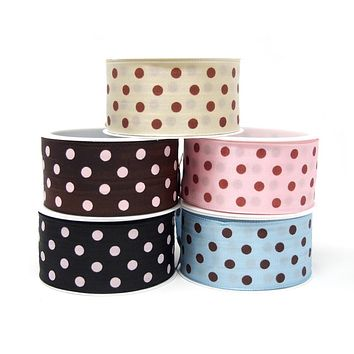 Taffeta Polka Dot Wired Edge Ribbon, Made in Germany, 1-1/2-Inch, 3-Yard
